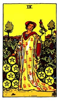 Pentacles Minor Arcana of the Raider-White tarot II - Spiritual Reading The key ideas associated with the Nine of Pentacles is luxury. The woman has clearly accumulated a great deal of worth, and furthermore has gained the tools necessary to be self-sufficient within her wealth which is made clear by the pentacles that surround her. The vineyard is a symbol of how all her desires have proven to be fruitful. The falcon which rests upon her hand shows her spiritual self-control as well as her…