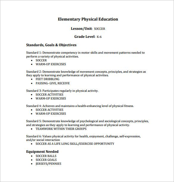 Business Plan Templates The Best Business Plan Example Pdf - Lesson plan template for physical education