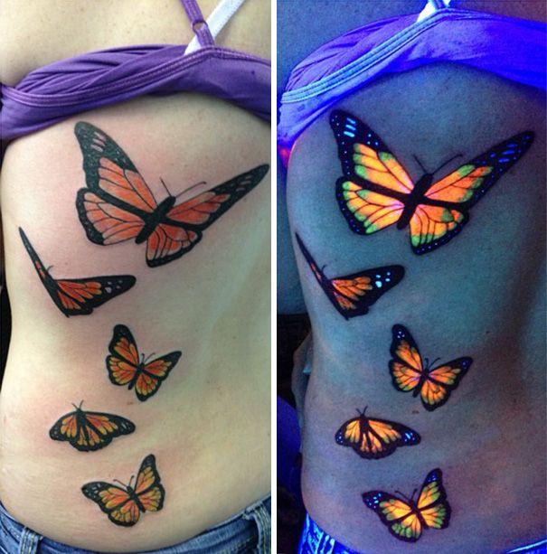 butterfly black light tattoo