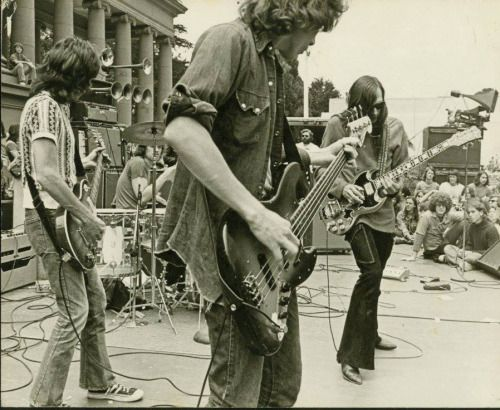 Copperhead with John Cipollina, James Hutch Hutchinson, David Weber, Gary Philippet, and Jim McPherson (not in the picture) play the bandshell in SF, I believe this is 1973.