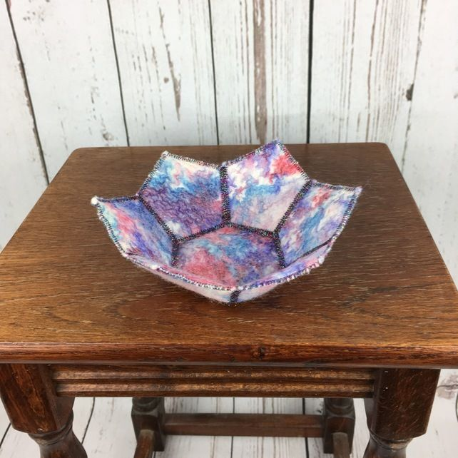 Textile bowl, blue and red, nuno felt bowl, trinket dish, coin tray £12.00