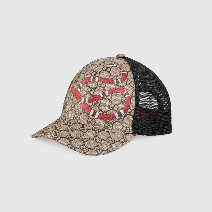Gucci Kingsnake print GG Supreme baseball hat Detail 2