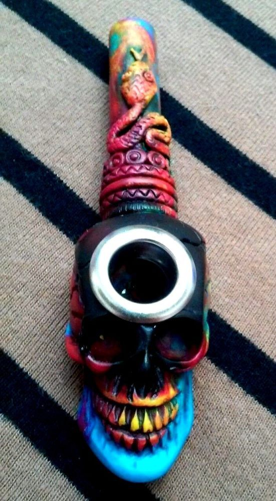 5 Color Smoking Pipe Mix Tie Dye Snake Skull Small Bowl Metal Lip Non Glass