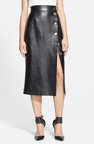 If Only Tamara Mellon Snap Detail Leather Wrap Skirt
