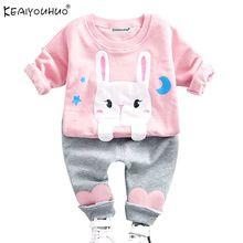 Sonbahar Bebek Kız Giyim Setleri Uzun Kollu Erkek Bebek Karikatür Pamuk Çocuk Giyim T-Shirt + Kot Kız Giysileri setleri Erkek Spor Takım Elbise(China)