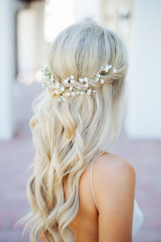 Half Up Half Down Wedding Hairstyles Ideas ? See more: http://www.weddingforward.com/half-up-half-down-wedding-hairstyles-ideas/ #weddings