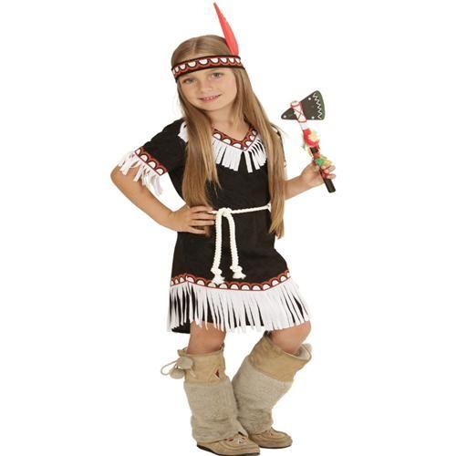 Indianerin Squaw Mädchen Kostüm 3tlg. Gr. 116 Indianer Kinder Kostüm (6694)