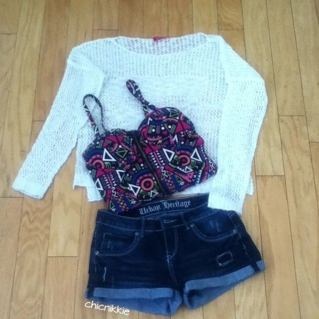Crochet Top- Fashion Q  Bustier- Lookbookstore Shorts- Urban Planet