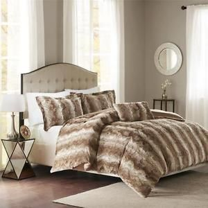 Brown fur bedding | ... -ULTRA-SOFT-LUXURY-PLUSH-WARM-CHIC-FAUX-FUR-TAN-BROWN-DUVET-COVER-SET