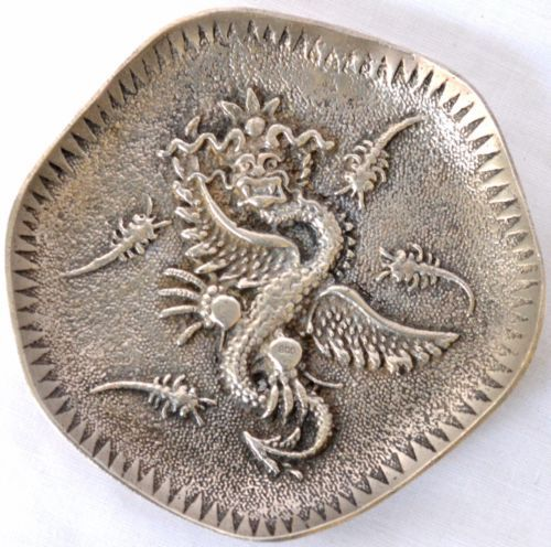 Vintage-Silver-800-Stamped-CHINESE-DRAGON-Saucer-Small-Plate-Dish-74-Grams