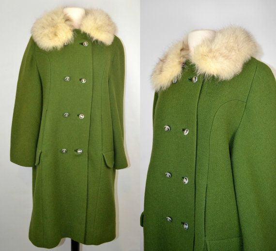 Vintage Green Winter Coat with Real Fur by KrisVintageClothing, $125.00