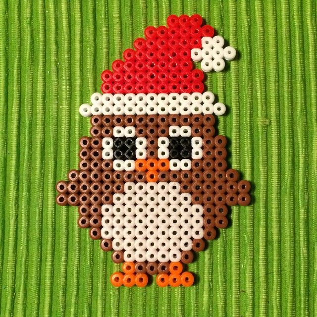 Christmas owl perler beads by petrawettero