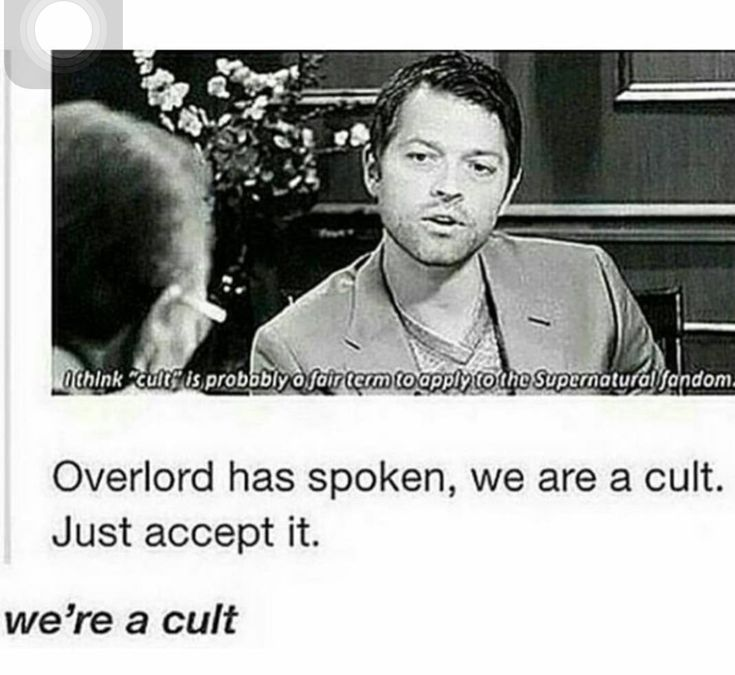 Ive called the fandom a cult before, before seeing this. Me and Misha are on the same page. :)