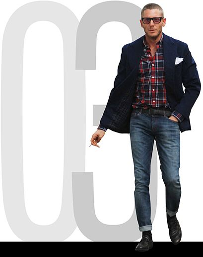 PLAID DENIM BLAZER SEXY MAN Lapo Elkann