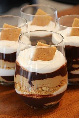 Carrie's Cooking and Recipes: Chocolate Peanut Butter Parfait. smores chocolate pb parfait