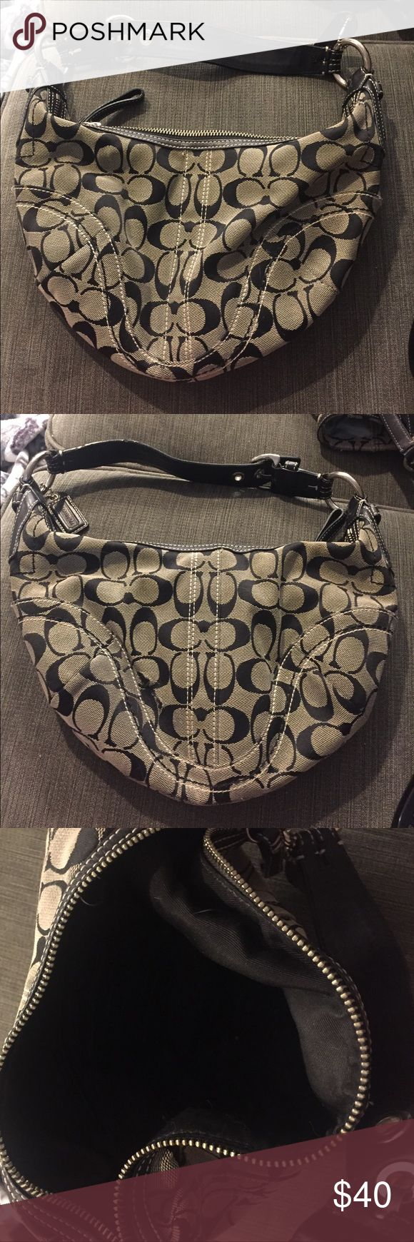 Black coach hobo bag Black and grey small coach hobo bag slightly used good condition Coach Bags Hobos