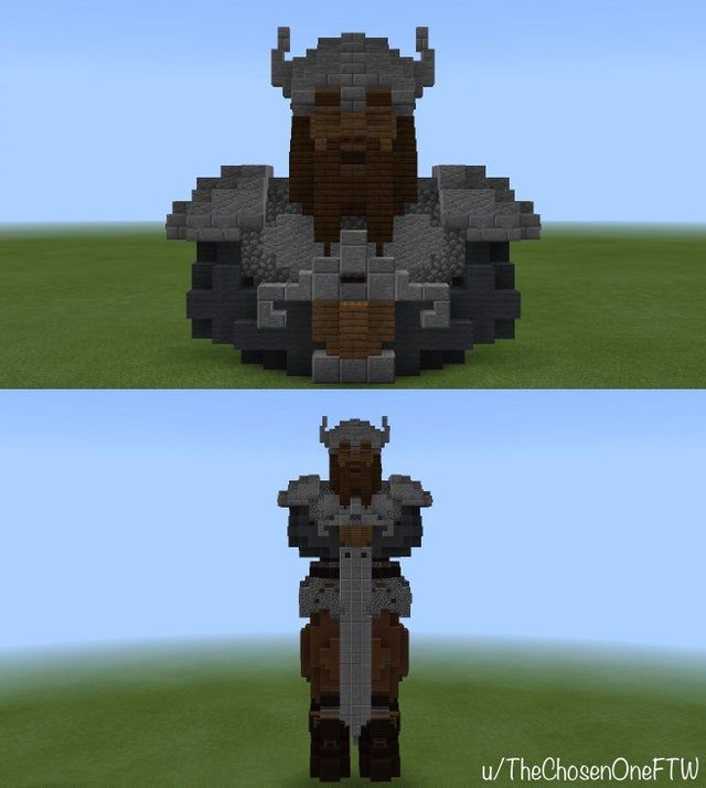 How To Make Pixel Art In Minecraft Bedrock My Attempt At Making A Viking Statue Feedback Is Appreciated Bedrock Pe Minecraftbuilds In 2020 Vikings Statue Minecraft Statues Statue