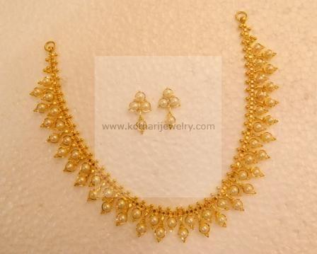 Gold Necklace - Light weight 22kt Thusshi Gold Beads Necklace, Kolhapuri Thusshi Necklace, 22 Karat Long Kasumala Gold Mala