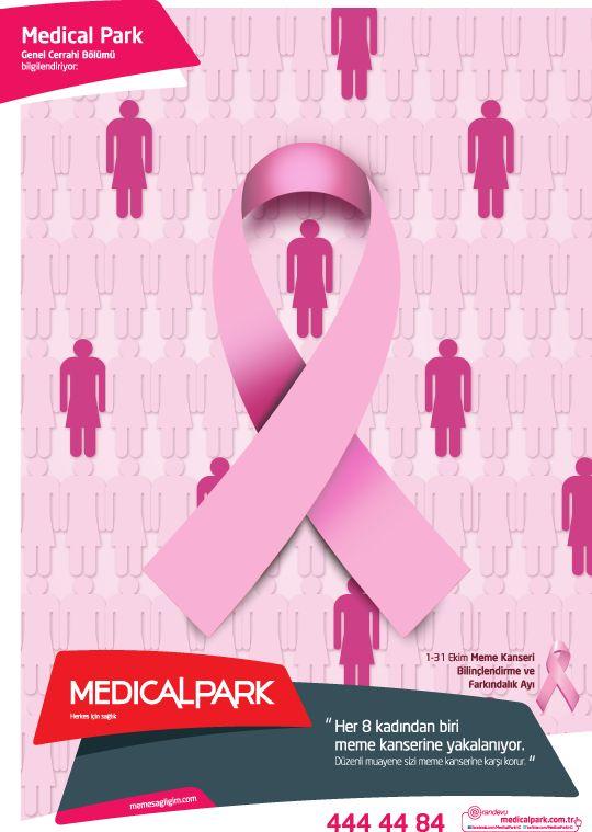 """""""Her 8 kadından biri meme kanserine yakalanıyor. Düzenli muayene sizi meme kanserine karşı korur!""""  1-31 Ekim Meme Kanseri Bilinçlendirme ve Farkındalık Ayı  http://www.memesagligim.com"""