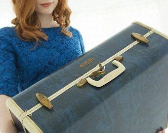 Vintage 1940s blue suitcase, Samsonite hardshell hard case travel luggage, original keys