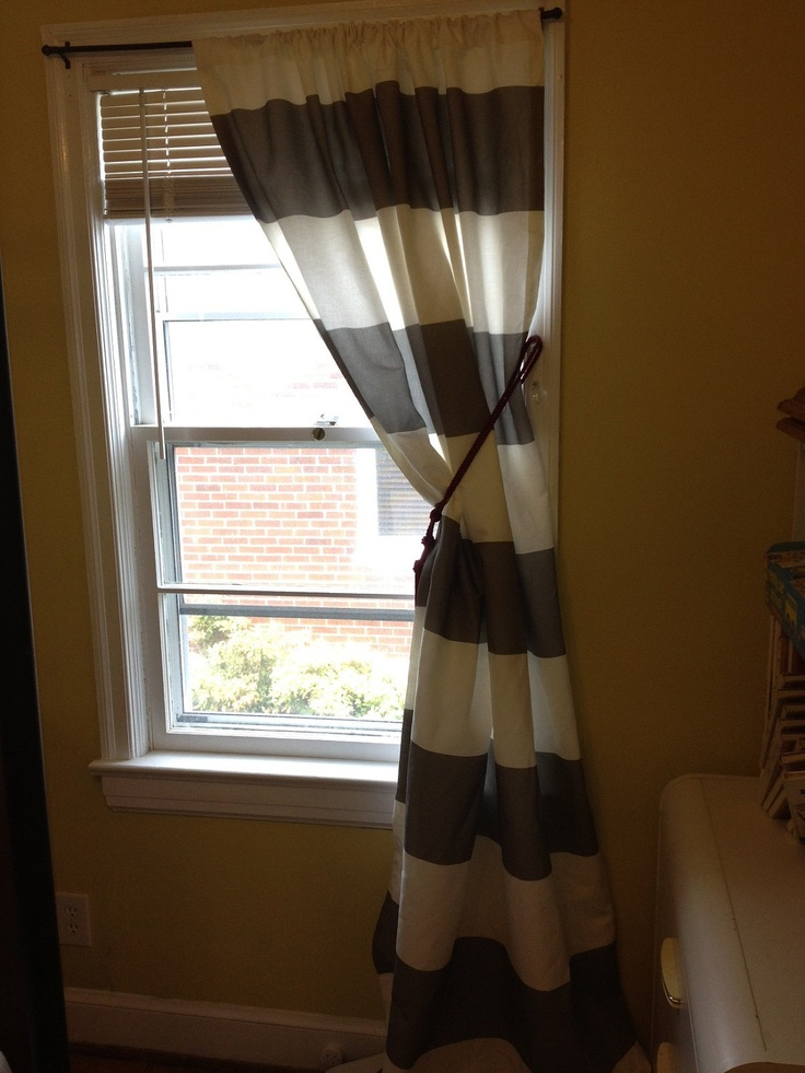 Set Of Two 96 Curtain Panels In Gray And White Horizontal Stripe Lined Via Etsy