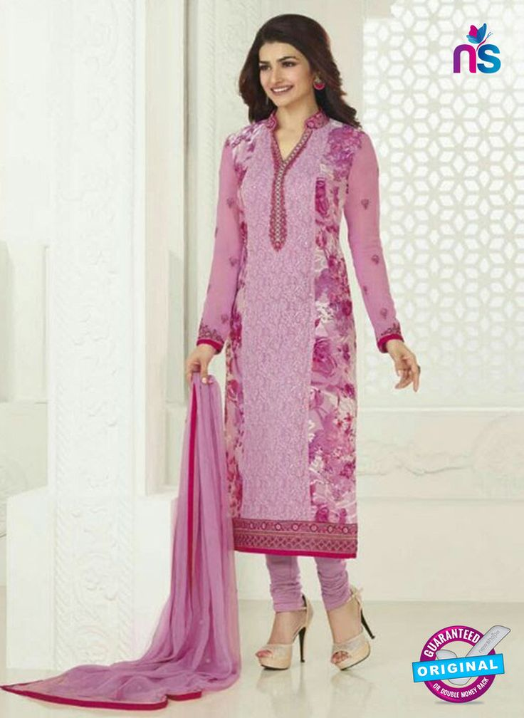3754 Purple Embroidered Georgette Party Wear Straight Suit