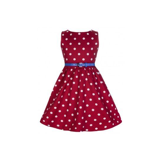 Lindy Bop Mini Audrey Red Polka I docela malé slečny chtějí být krásné a co nejvíce se podobat své mamince. Mini kopie dámských retro šatů ve stylu 50. let vhodné na svatbu, dětskou párty, letní dny, narozeninové focení nebo Vánoce. Sytě červené s bílým puntíkem, příjemná strečová bavlna, modrý pásek součástí.