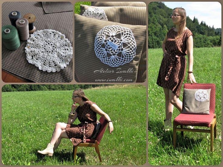 Styl Retro /Projekt Iwakki. Dress by Iwakki with silk. Retro cushions with fabric 70s. This fabric comes from Poland. Fashion designer - Iwakki