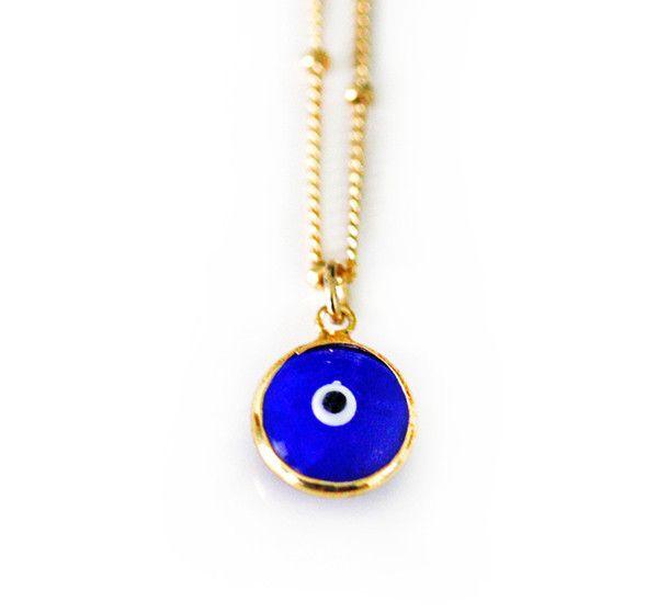 BLUE evil eye necklace