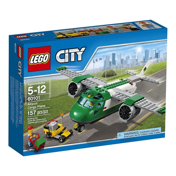 Get the LEGO City Airport Cargo Plane ready for delivery, featuring a back hatch that opens, turning nosewheel, big engines and accessible cockpit, plus an airport service car with hand truck and space for 4 packages. Includes 2 minifigures.<ul>LEGO CITY Airport Cargo Plane 60101 features:<li>Features a cargo plane with a back hatch that opens, turning nosewheel, big engines and an accessible cockpit.</li><li>Also includes an airport service car with space for pac...