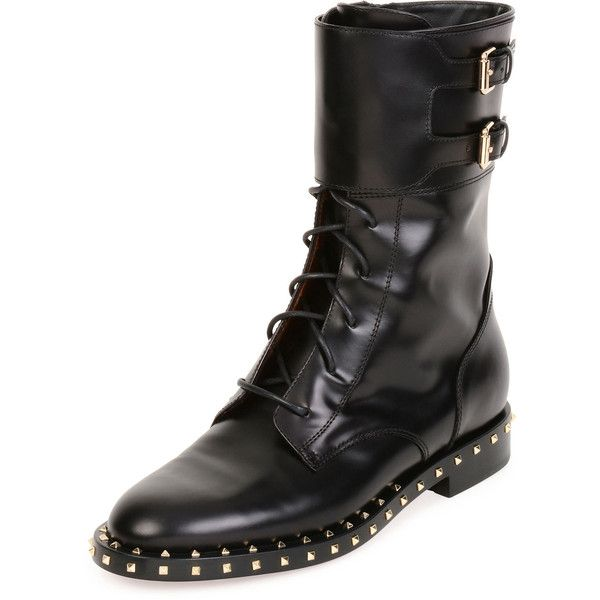 Valentino Soul Stud Rockstud Leather Moto Boot (6.560 BRL) ❤ liked on Polyvore featuring shoes, boots, studded moto boots, moto boots, lace up motorcycle boots, valentino boots and flat lace up boots