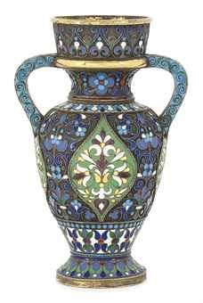"""A RUSSIAN SILVER-GILT AND CLOISONNE ENAMEL VASE  MARK OF ANTIP KUZMICHEV, """"88"""" STANDARD, MOSCOW, 1896/1908 AND RETAILED BY TIFFANY & CO., INVENTORY NUMBER 9569http://www.christies.com/"""