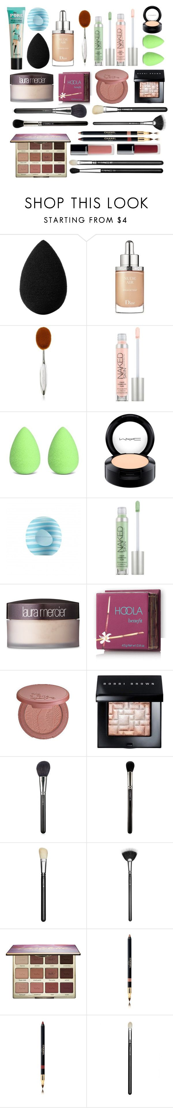 """Vacation Makeup Bag"" by lightbody-joanna on Polyvore featuring beauty, beautyblender, Christian Dior, Artis, Urban Decay, MAC Cosmetics, Eos, Laura Mercier, Hoola and tarte"