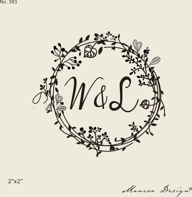 Wedding Stamps Fl Frames Rubber Stamp Custom Initial Wreath Flower Calligraphy Ideas Pinterest
