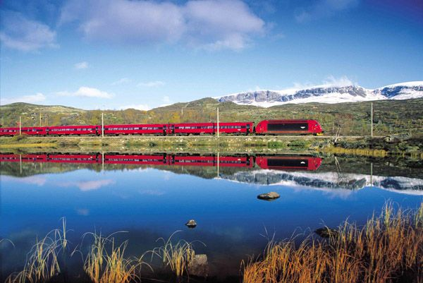 """The scenery on the 7-hour Bergen Railway trip across the Hardanger plateau, the largest wilderness area in Europe, is breathtaking. Keep your eyes open for reindeer and other wild animals on what the Eurail Guide calls the """"most scenic rail trip in Europe."""" Norway"""