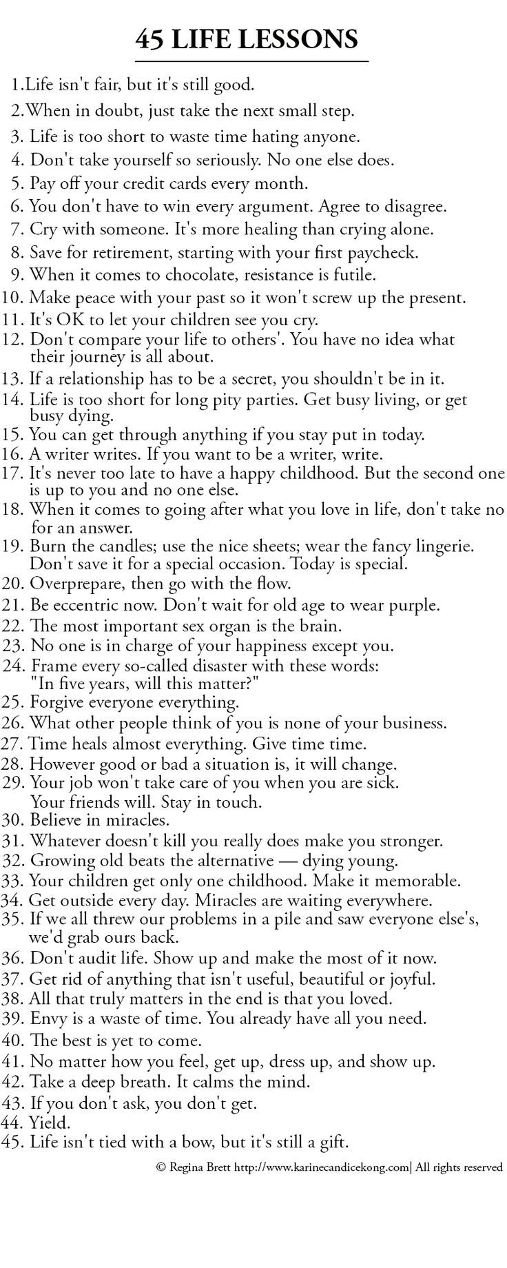 List of 45 Great life lessons to life by.