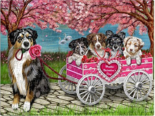 Happy Valentines Day Love Puppy Dogs Australian Shepherds in Rose Wagon Mom, Dad, Husband Wife Puzzle with Photo Tin (252Pcs)