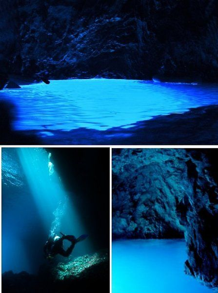 The Blue Cave, Croatia. Off the coast of Korcula, one of Croatia's biggest islands is Modra Spilja (the Blue Cave).
