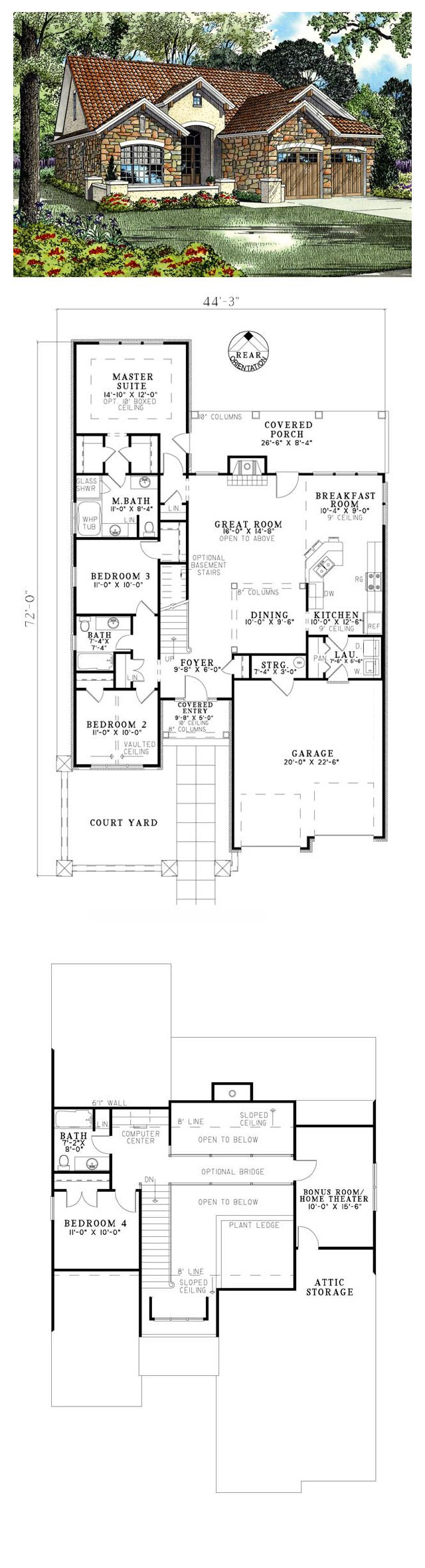 Tuscan House Plan Total Living Area 1875 Sq Ft 4