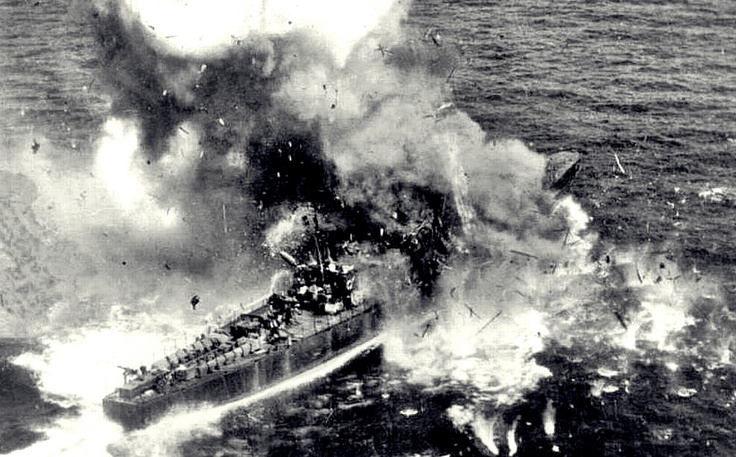 A Japanese gunboat suffers a direct hit from US bombers near Japanese territorial waters as what has been left of the Japanese Imperial Navy tries to fight one last battle, June 1945.