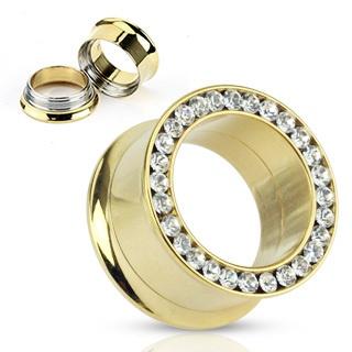 Pair (2) Gold IP CZ Gem Rim Screw Fit Ear Plugs Tunnels Earlets Gauges | eBay