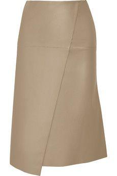 Joseph Charlene wrap-effect leather midi skirt   NET-A-PORTER
