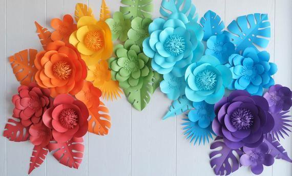 Rainbow Paper Flowers Paper Flowers Set Kids Party Decor