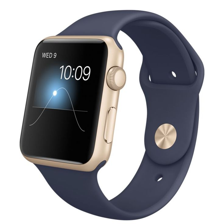 Apple | Apple Watch Sport - 42mm Gold Aluminum Case with Midnight Blue Sport Band
