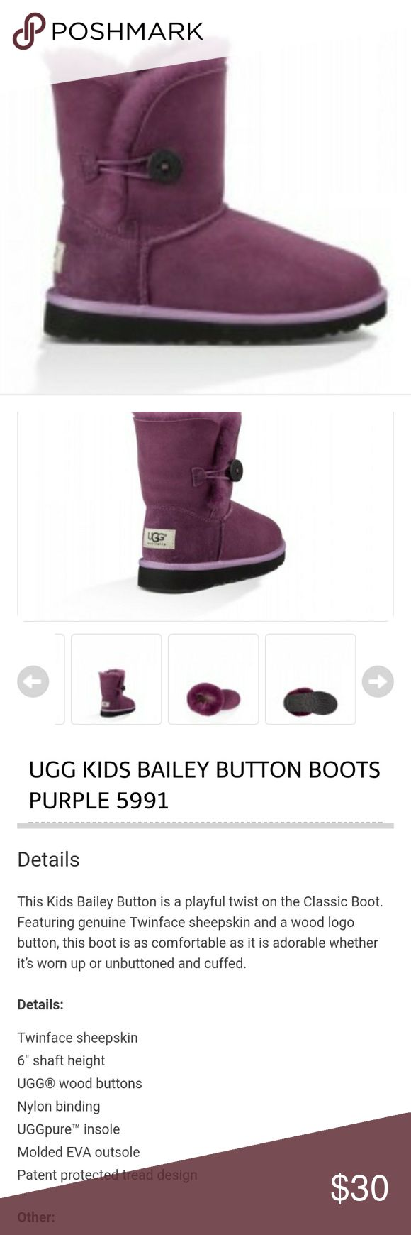 kids purple UGG Bailey button boots! good condition UGG Bailey Button boots in purple! Originally $140 and on sale on UGG website for $62. Soles are great with logo still imprinted! still a lot of life left in them and scuffing/rubbed part on front can be dyed! a lot of life left in these boots! size 1 UGG Shoes