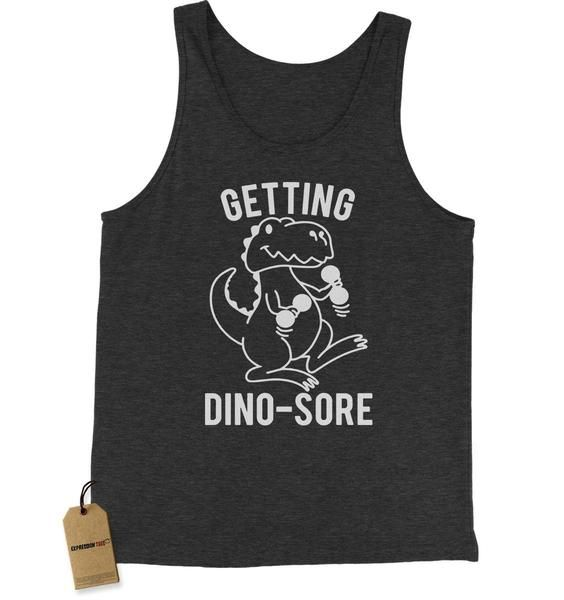 It's A Dinosaur, and he is working out with dumbbells. Getting sore. Get It? Great clothing at a great price
