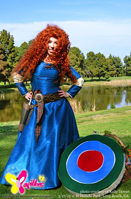 Scottish princess Merida character for Brave themed party in Los Angeles.