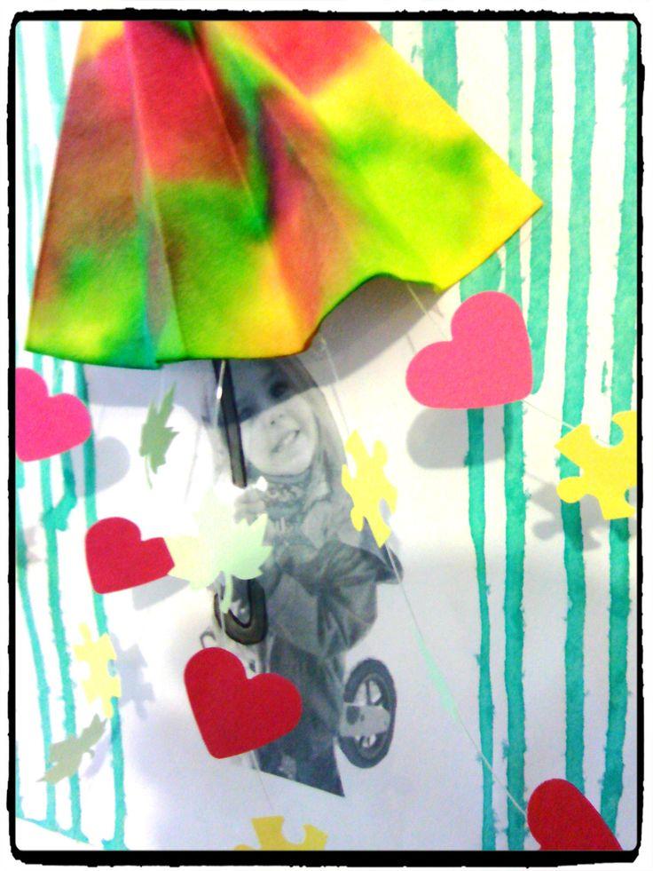 la pluie, coulure, parapluie, encre, bricolage enfant