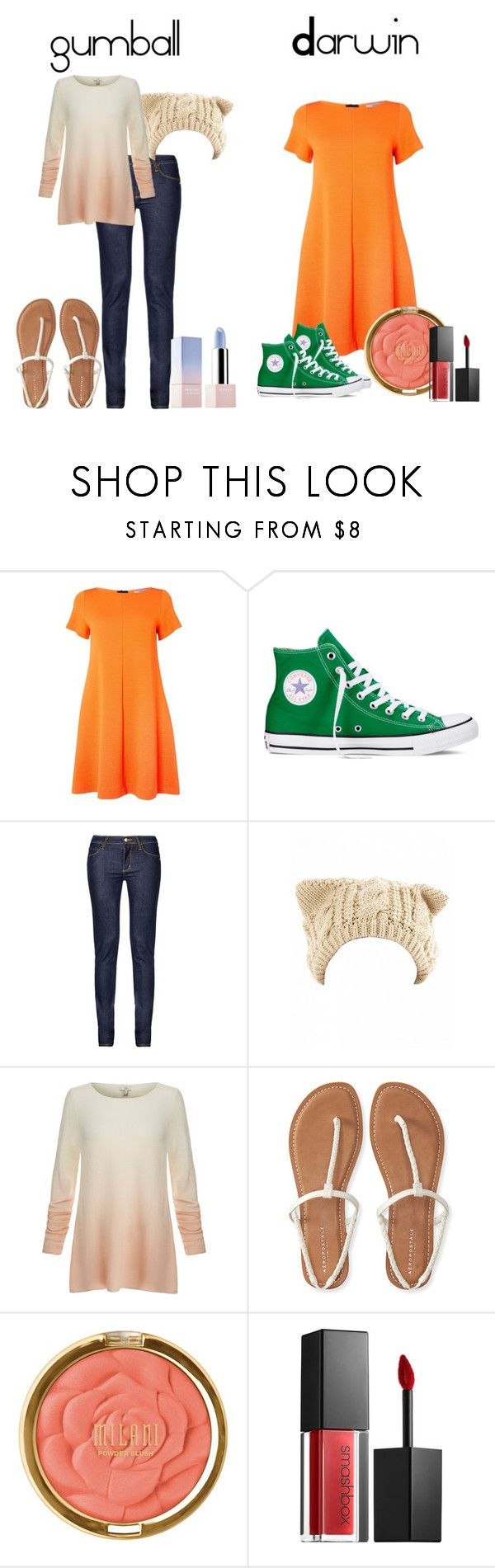 """""""the amazing world of gumball"""" by tokyo-mocha ❤ liked on Polyvore featuring Marella, Converse, Monkee Genes, Joie, Aéropostale, Milani, Smashbox and Sephora Collection"""
