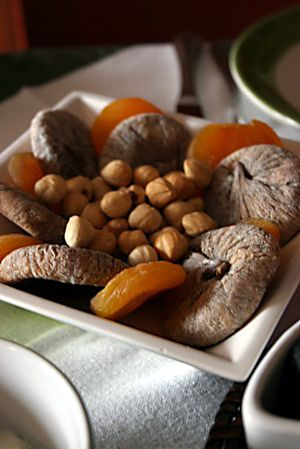 Dried figs and apricots with nuts